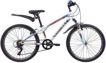 """Велосипед NOVATRACK 24"""" EXTREME, сталь.рама 12"""", белый, 6-скор, TY21/RS35/SG-6SI, V-brake"""