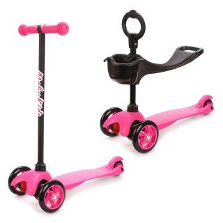 Самокат Moby Kids 2 в 1, cменный руль, розовый