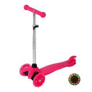 Самокат Moby kids Basic 2.0, 120 мм PU, свет, рег.рул.стойка, розовый