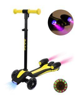 Самокат Moby Kids Junior Rocket, 120 мм PU, свет., рег. рул. ст., фара+звук+дым, желт.