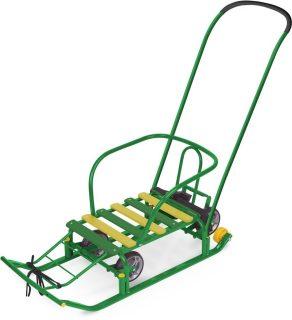 Санки Тимка 5 УНИВЕРСАЛ с механизмом выдвижных колесных шасси, зеленый