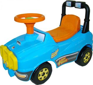Машина-каталка Джип с гудком (голубой)