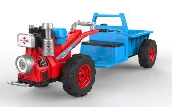 Мини-трактор красно-голубой, плеер USB/MP3, подсветка, аккумулятор 12В 4.5А, 2 мотора