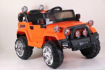 Электромобиль оранжевый р/у 6V4.5AH*2, 25W*2, подвеска, свет, открывающиеся двери, USB