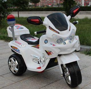 Мотоцикл трехколесный белый 6V7AH, 25W, мягкое сидение, сигнальный прожектор