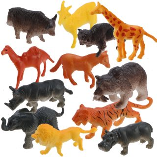 Набор диких животных, 5 см, 12 шт., аксессуары, пакет
