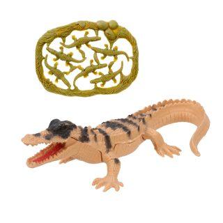 Набор фигурок Дикие животные, крокодил 15см. с крокодильчиками, пакет
