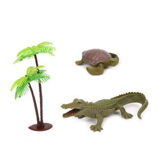 Набор фигурок Дикие животные, крокодил 15см., черепаха, пальма, пакет