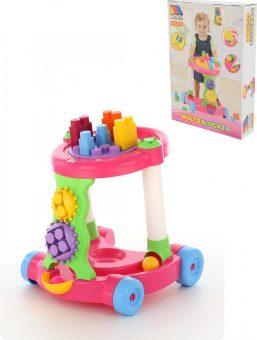 Каталка игровая с конструктором (13 элементов), розовая
