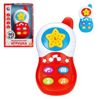 Телефончик Е-Нотка в ассорт., проектор, звук, свет, батар. не входят в  компл., кор.