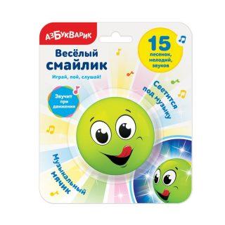 Муз. игрушка Веселый смайлик Зеленый