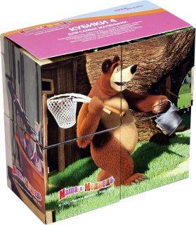 Кубики Маша и Медведь 4 шт