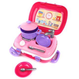 Набор игровой Кухня в чемодане с набором посуды, розовая
