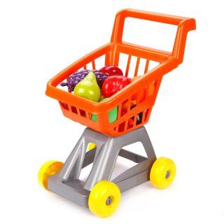 Тележка для супермаркета с фруктами и овощами
