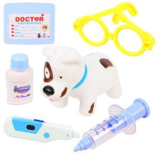 Набор ветеринара 6 предм., свет, эл.пит. 2*AG10.вх.в комплект, голуб., пакет