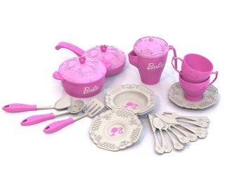 Набор кухонной и чайной посудки Барби, 21 предмет в сетке