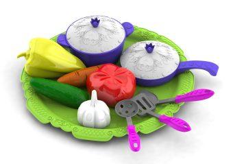 Набор овощей и кухонной посуды Волшебная Хозяюшка,12 предметов на подносе