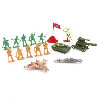 Набор Военный, солдаты 10шт, техника 4 шт., аксессуары 2шт.