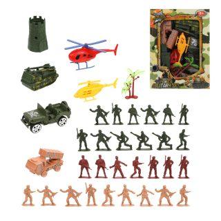 Набор Военный, солдаты 29 шт., техника 5 шт., аксессуары, коробка