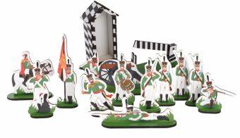 Набор солдат Кутузов, 12 героев, шлагбаум, постовая будка