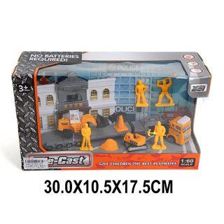 Игр.набор Строители, машина 1шт., строит.техника 2шт., фигурка 4 шт., аксессуары, коробка