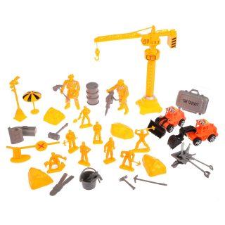 Набор Строители, фигурки, инструменты, подъемный кран, тех.машины
