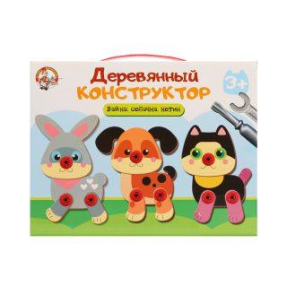 Конструктор деревянный Зайка, собачка, котик