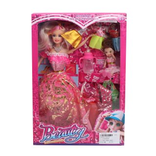"Игр. набор ""Модница"", в комплекте кукла 30 см, кукла 10см, предметов 7 шт,кор."
