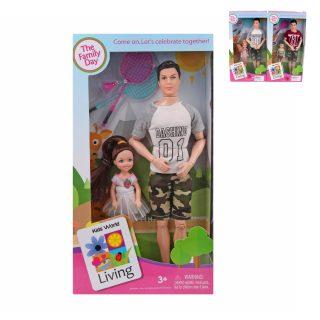 Кукла Папа с ребенком, аксесс.3 шт., кор.