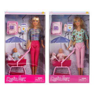 Кукла Defa Lucy Прогулка с коляской, 2 куклы, 4 аксессуара, в ассорт., кор.