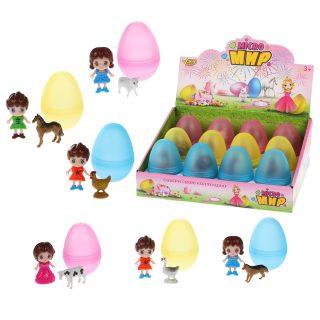 Кукла 6 см с фигуркой животного в яйце, в ассорт., дисплей