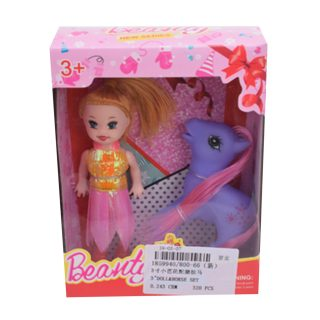 Кукла 7,5 см с лошадкой, кор., в ассортименте