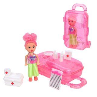 Кукла 7,5см в наборе с набором доктора 10 предм. и чемоданчиком, пакет