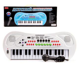 Синтезатор 32 клавиши,  бел., эл. звук, микрофон, запись, эл.пит.не вх.в компл.