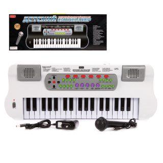 Синтезатор 37 клавиш,  бел., эл. звук, микрофон, запись, эл.пит.AA*4шт.не вх.в компл., без адаптера