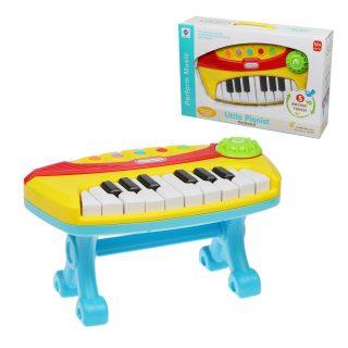 Пианино дет. 16 клавиш, свет, звук, ноты, батар.AA*3шт. в компл.не вх., кор.