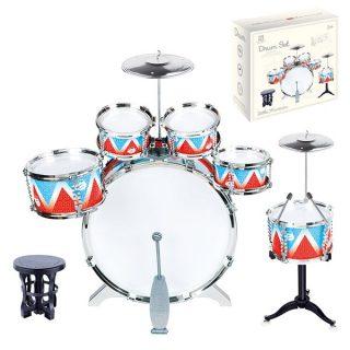 Барабанная установка 53х38х60 см, 6 барабанов, 2 тарелки, стульчик в комплекте, кор.