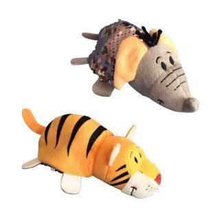 Мягкая игрушка Вывернушка Блеск с пайетками Слон-Тигр, 12 см