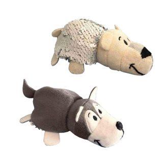 Мягкая игрушка Вывернушка Блеск с пайетками Хаски-Полярный медведь, 12 см
