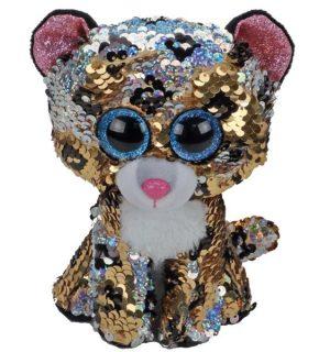 Мягкая игрушка леопард с пайетками 15 см.