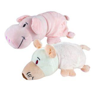 Мягкая игрушка Вывернушка 2в1, 20 см.,символы года, Свинья-Крыса