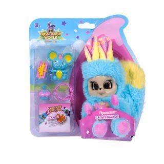Интерактивная мягкая игрушка Пушастик с питомцем и аксессуарами, плюш, 14 см, шевелит ушками, вращает глазками, размер кор. 21х16х8,5