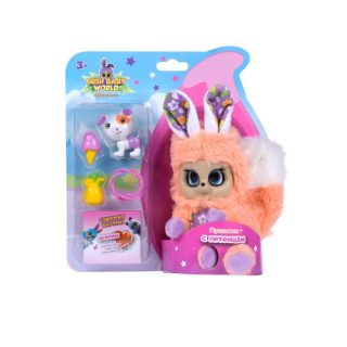Интерактивная мягкая игрушка Пушастик с питомцем и аксессуарами, плюш, 14 см, шевелит ушками, вращает глазками, размер кор. 21х16х8,8