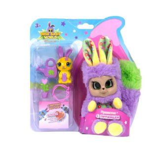 Интерактивная мягкая игрушка Пушистик с питомцем и аксессуарами, плюш, 14 см, шевелит ушками, вращает глазками, размер кор. 21х16х8,6
