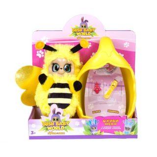 Интерактивная мягкая игрушка Пчелка Бри, плюш, 20 см, шевелит усиками, вращает глазками, со спальным коконом, заколкой и шармом , размер кор. 20*23*9 см