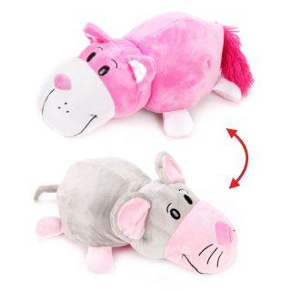 Мягкая игрушка Вывернушка 35 см 2в1 Розовый кот-Мышка