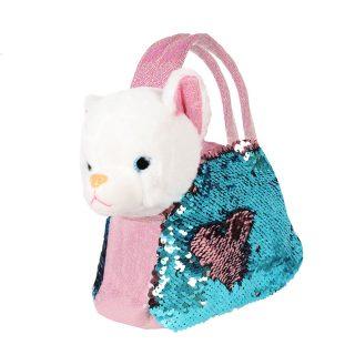 Котенок 19см в сумочке с пайетками