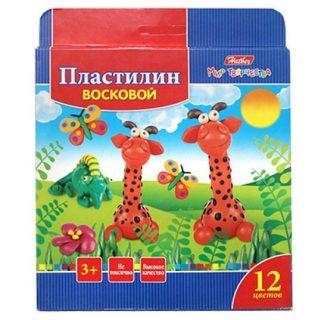 Пластилин Восковой 12 цв. 180г со стеком Забавные зверята в карт.короб. с европодвесом