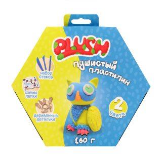 Набор для лепки Пластилин Пушистый PLUSH  Синий + желтый