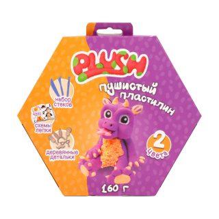 Набор для лепки Пластилин Пушистый PLUSH Фиолетовый +Оранжевый